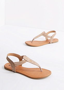 Taupe Geo Beaded T-Strap Sandal
