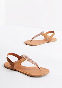 Cognac Geo Beaded T-Strap Sandal