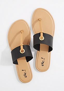 Black T-Strap Grommet Sandal