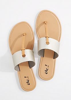 Metallic Silver T-Strap Grommet Sandal