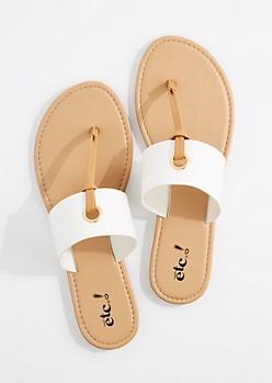 White T-Strap Grommet Sandal