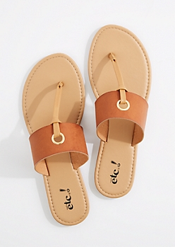 Cognac T-Strap Grommet Sandal