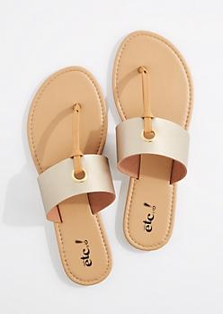 Metallic Gold T-Strap Grommet Sandal