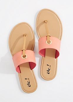Coral T-Strap Grommet Sandal