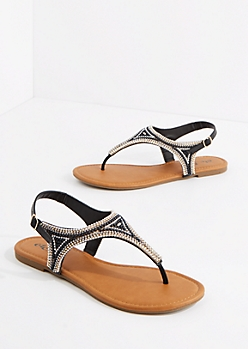 Black Beaded T-Strap Sandal