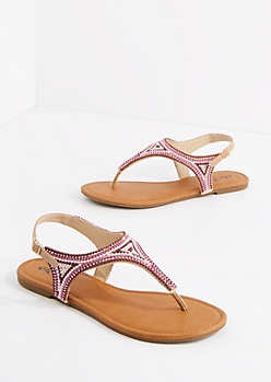 Burgundy Beaded T-Strap Sandal
