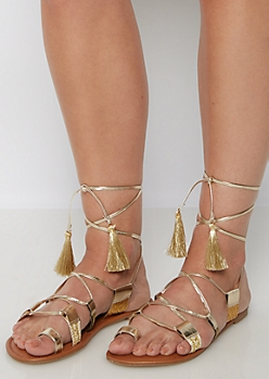Metallic Gold Tasseled Gladiator Sandals