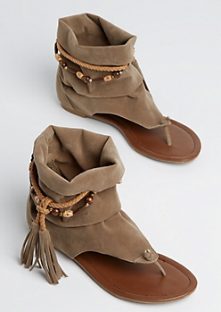 Taupe Beaded Slouch Hooded Sandal