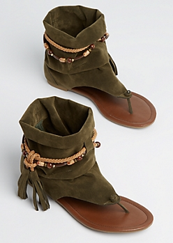 Olive Beaded Slouch Hooded Sandal