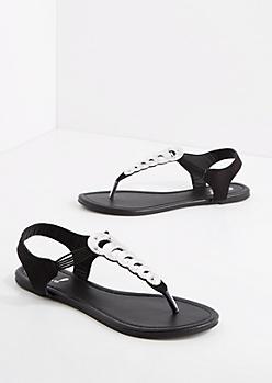 Silver Metallic T-Strap Sandal