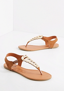 Golden Metallic T-Strap Sandal