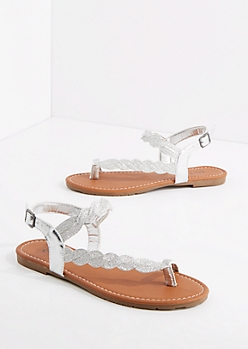 Shimmering Silver Braided Sandal