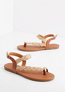 Shimmering Gold Braided Sandal