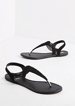 Black Crochet T-Strap Sandal