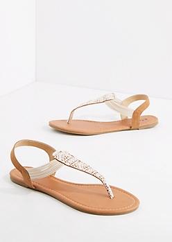 Ivory Crochet T-Strap Sandal
