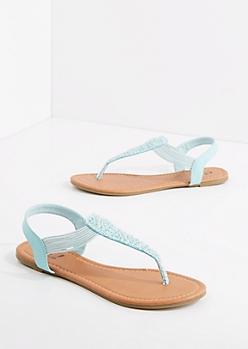 Mint Crochet T-Strap Sandal