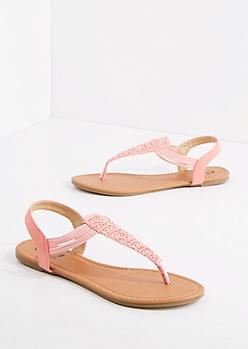Coral Crochet T-Strap Sandal