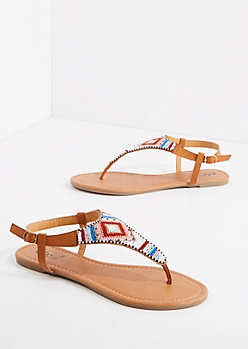 Stripe Beaded T-Strap Sandal