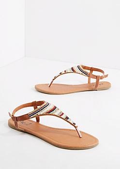 Geo Beaded T-Strap Sandal