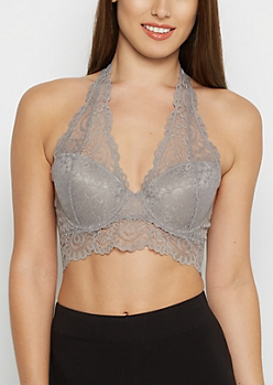 Gray Deep-V Lace Halter Bra