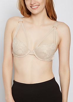 Nude Lace Caged Bra