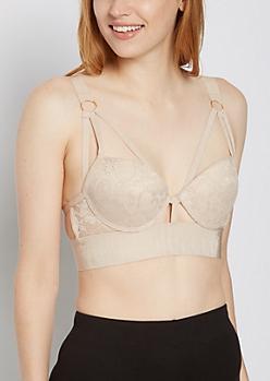 Nude Lace Caged Longline Bra