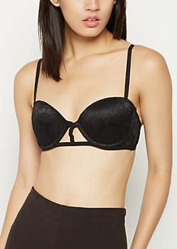 Black Lace Caged Balconette Bra
