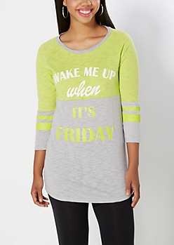 Green Wake Me On Friday Sleep Tee