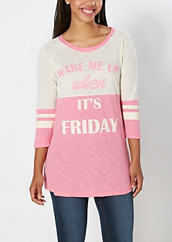 Pink Wake Me On Friday Sleep Tee