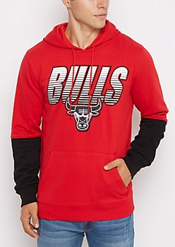 Red Chicago Bulls Color Block Fleece Hoodie