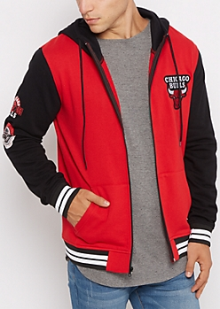 Chicago Bulls Color Block Zip Up Hoodie