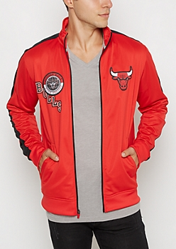 Red Chicago Bulls Patched Track Jacket