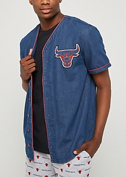 Chicago Bulls Denim Baseball Jersey
