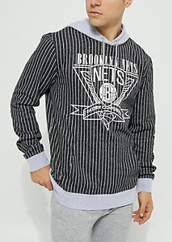 Brooklyn Nets Pinstriped Contrast Hoodie