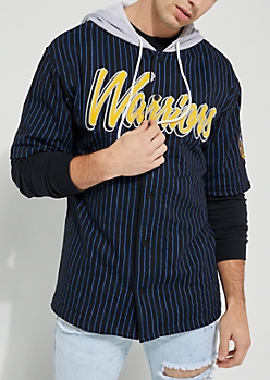 Golden State Warriors Hooded Baseball Jersey