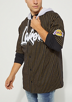 Los Angeles Lakers Hooded Baseball Jersey