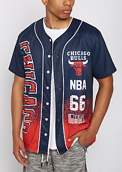 Chicago Bulls Paint Splattered Baseball Jersey