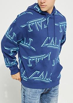Cali Tossed Print Fleece Hoodie