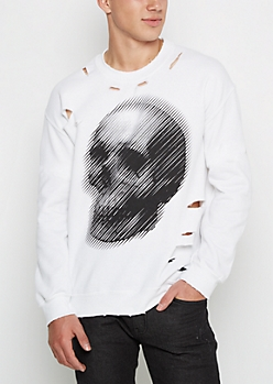 Skull Streak Distressed Sweatshirt