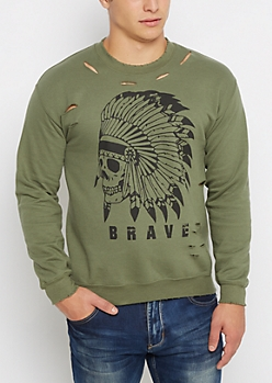 Brave Skull Ripped Fleece Sweatshirt