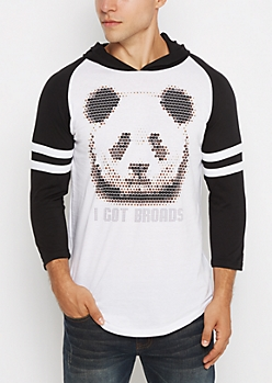Pixeled Panda Hooded Raglan Tee
