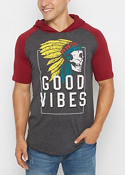 Good Vibes Skull Hooded Raglan Tee