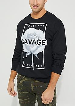 Black Savage Rose Sweatshirt