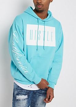 Turquoise Hustle Fleece Hoodie