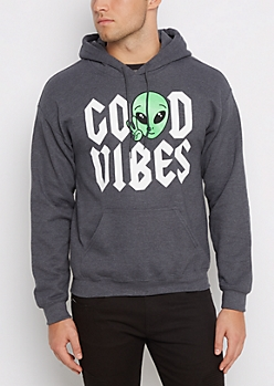 Good Vibes Alien Fleece Hoodie
