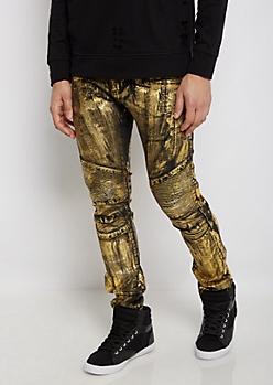 Flex Golden Foil Moto Skinny Jean
