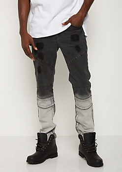 Black Dip Dye Distressed Jean