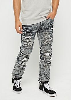 Black Destroyed & Studded Moto Slim Jean