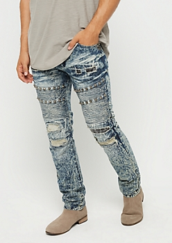 Washed Stitched & Studded Moto Slim Jean