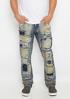 Shredded Patch Tinted Slim Jean